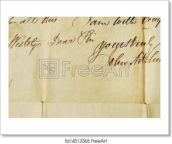 free art print of close up of old letter background textures old