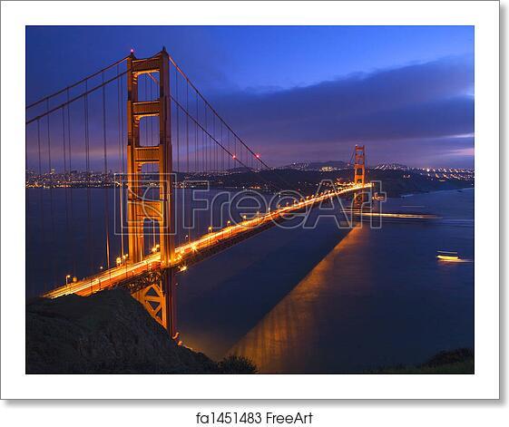 Golden Gate Bridge San Francisco California Sunset Picture: Free Art Print Of Golden Gate Bridge At Night With Boats
