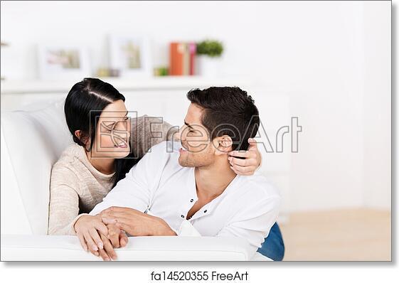Superieur Free Art Print Of Loving Couple Cuddling On The Sofa
