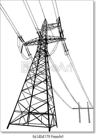 free art print of power lines and pylons  vector