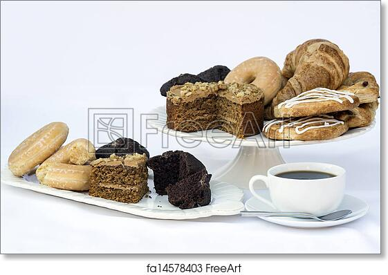 Free Art Print Of Continental Breakfast Buffet Table Setting With Coffee  And Pastr