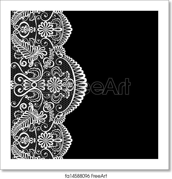 free art print of lace border iinvitation or greeting card with