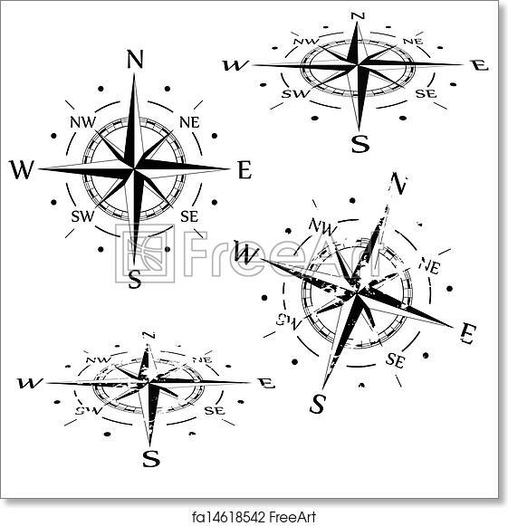 free art print of grunge vector compass set freeart fa14618542