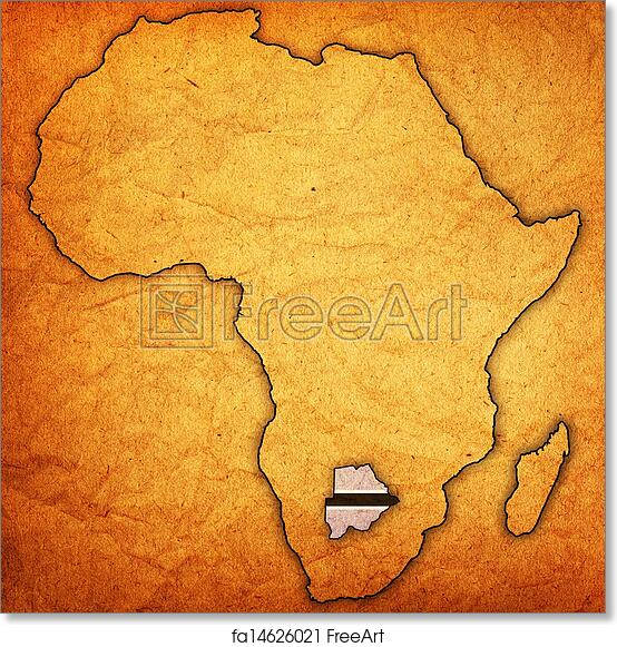 photograph about Free Printable Map of Africa identify Absolutely free artwork print of Botswana upon true map of africa