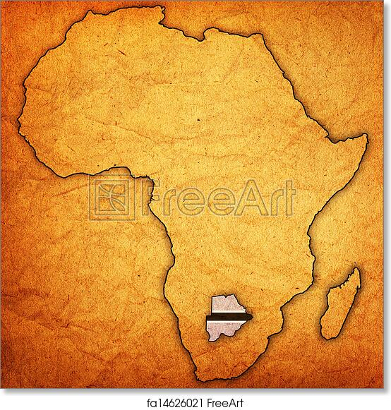 graphic about Free Printable Map of Africa named Totally free artwork print of Botswana upon real map of africa