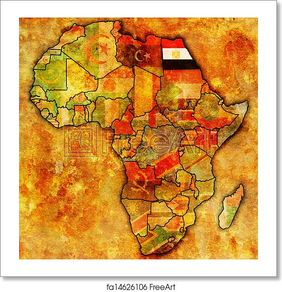 Free art print of Egypt on actual map of africa Egypt on actual