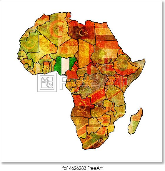 Free art print of Nigeria on actual map of africa. Nigeria on actual ...