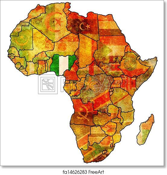 Africa Map Nigeria.Free Art Print Of Nigeria On Actual Map Of Africa Nigeria On Actual