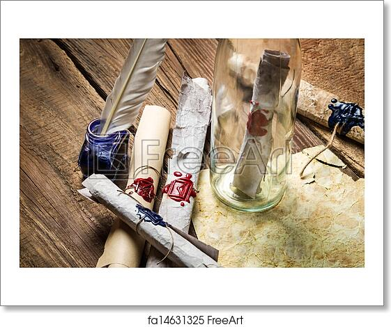 free art print of preparing to send ancient letter in a bottle with blue ink