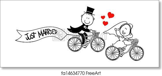 Free art print of Funny bride and groom on bikes. Bride