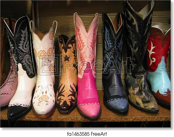 c82d5772bde Free art print of Colorful cowboy boots. A row of colorful cowboy boots on  a shelf. | FreeArt | fa1463585
