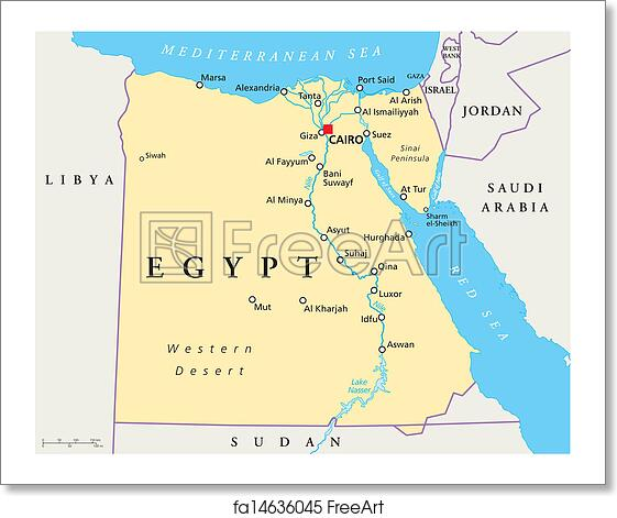 Free art print of Map Of Egypt. Map of Egypt with national borders ...