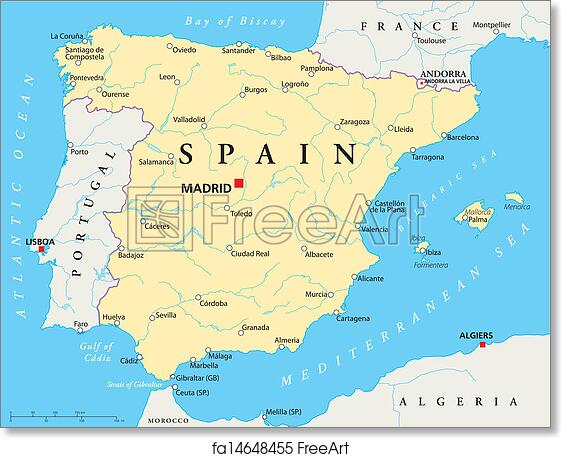 Map Of Spain Almeria.Free Art Print Of Spain Map