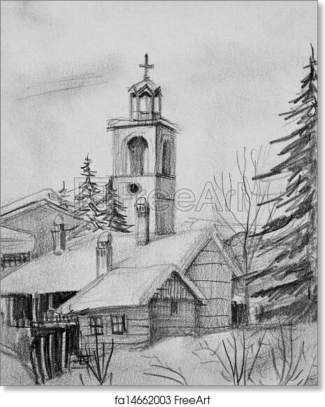 Free art print of pencil drawing of old church in bansko