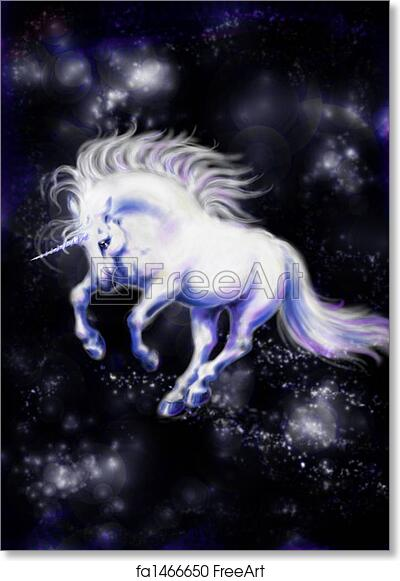 free art print of unikorn white unicorn flying in the