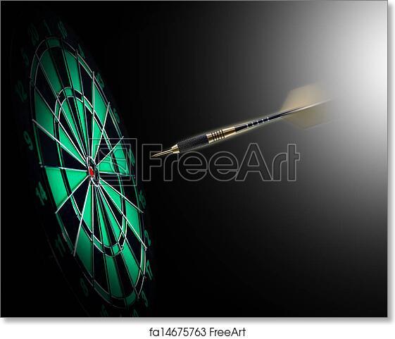 free art print of shot of darts in bullseye shot of darts in