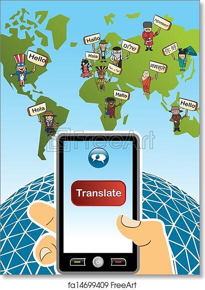 Translation Concept Map.Free Art Print Of Global Translation App Concept World Map And Hand