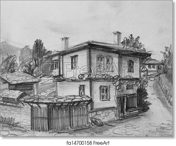 Free Art Print Of Drawing Of Traditional Old Bulgarian House