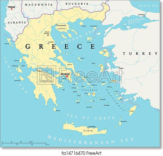 Hand Drawn Map Of The World.Free Art Print Of Greece Political Map Hand Drawn Map Of Greece