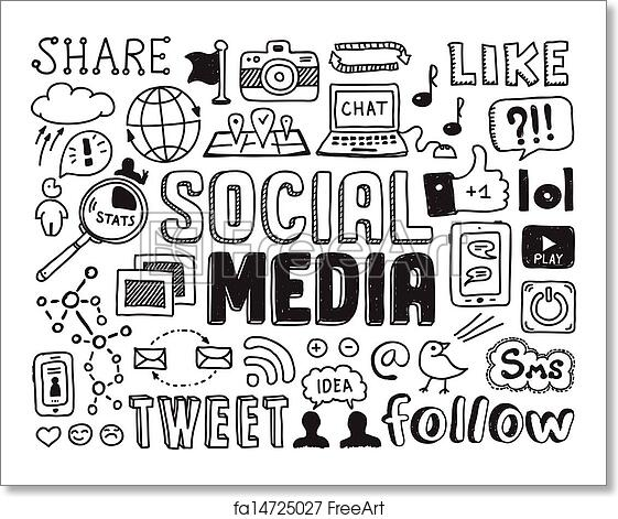 Free Art Print Of Social Media Doodles Elements