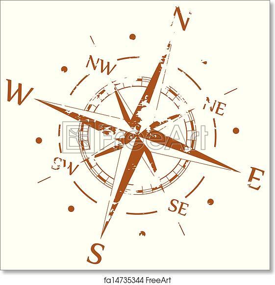 free art print of brown grunge vector compass freeart fa14735344