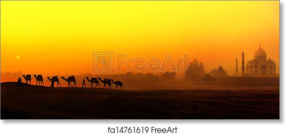 Free Art Print Of Taj Mahal Sunset View In India Panoramic Landscape With Camels Silhouettes And Tajmahal Indian Palace
