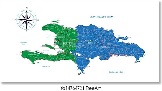 Free art print of Dominican Republic And Haiti Map. Highly detailed ...
