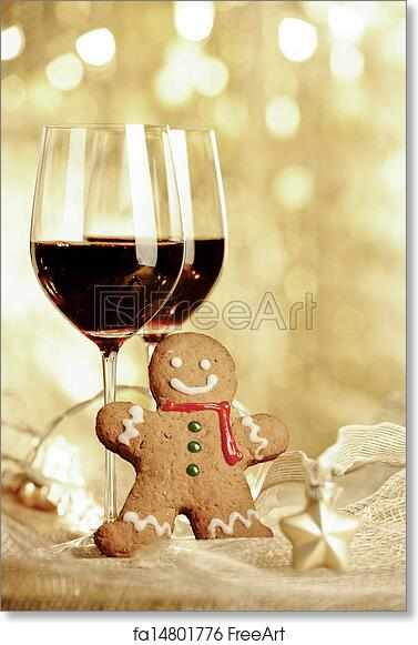 free art print of two glasses of red wine gingerbread man and christmas ornaments