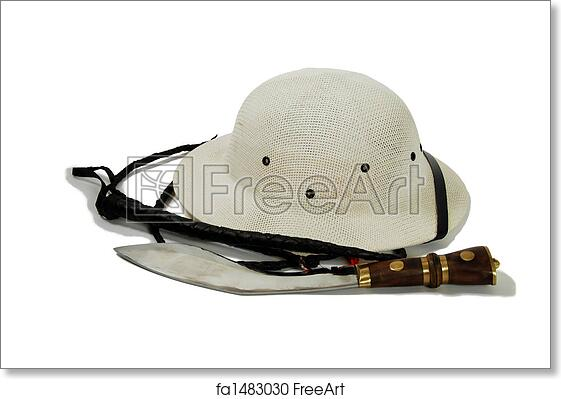 Free art print of Hunting knife, whip and Pith Helmet