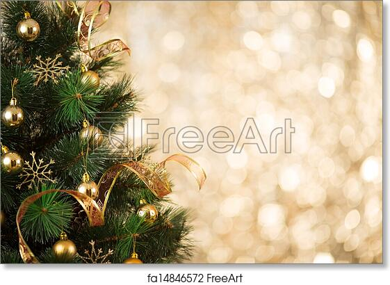 Free Art Print Of Gold Christmas Background Of Defocused Lights With Decorated Tree Freeart Fa14846572