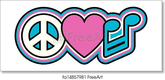 Free Art Print Of Peace Love Music Retro Styled Design Of Peace