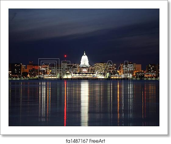 free art print of skyline of madison wisconsin at night the madison