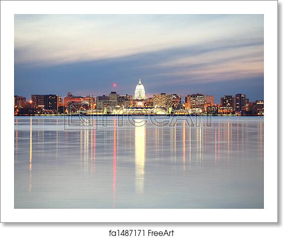 free art print of skyline of madison wisconsin at dusk the madison