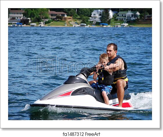 Free Art Print Of Jet Ski Fun A Young Boy And His Dad Take A Ride On A Personal Water Craft Freeart Fa1487312