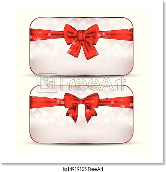 Free Art Print Of Christmas Cards With Gift Bows Illustration