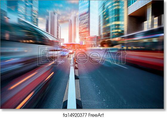 Painting Illustration Cityscape Shanghai China Traffic Street Bus Framed Print