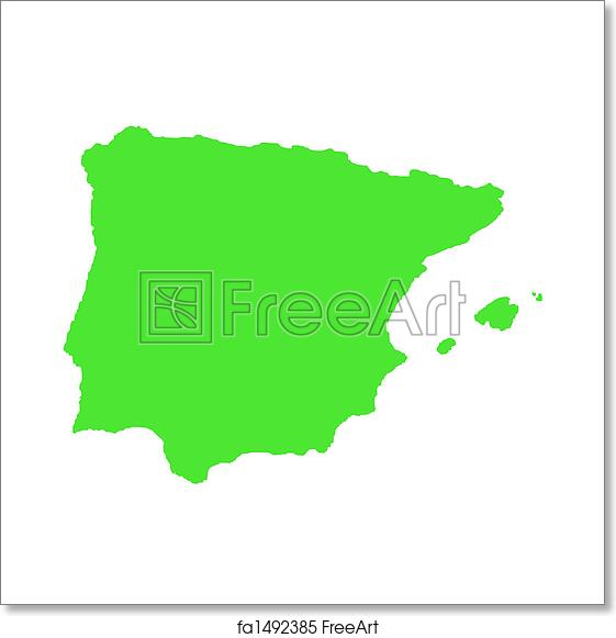 Free Art Print Of Outline Map Of Spain On White Outline Map Of