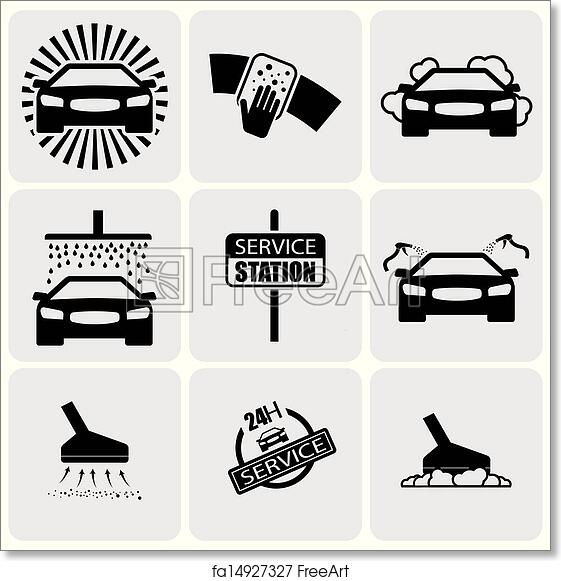 Free Art Print Of Car Wash Iconssigns Set Of Cleaning Car Vector