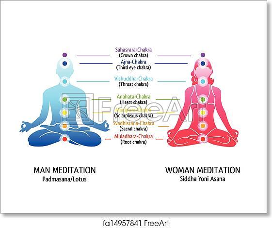 Free art print of Yoga chakras diagram