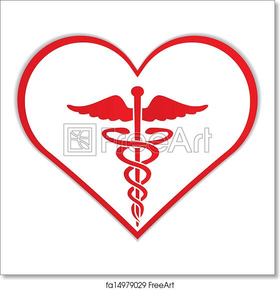 Free Art Print Of Caduceus In Heart Medical Symbol Caduceus In