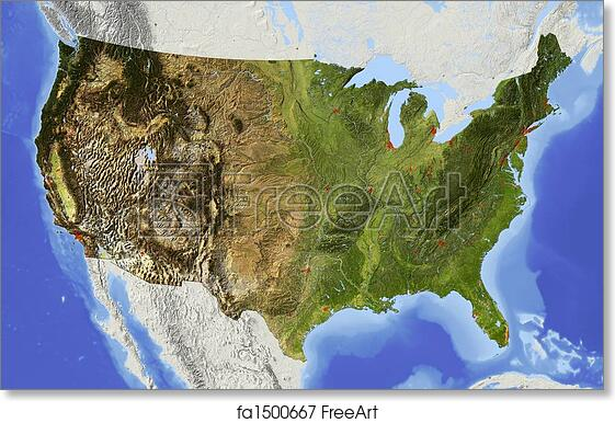 Free Art Print Of Usa Shaded Relief Map Usa Shaded Relief Map Of