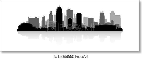free art print of kansas city skyline silhouette kansas city usa