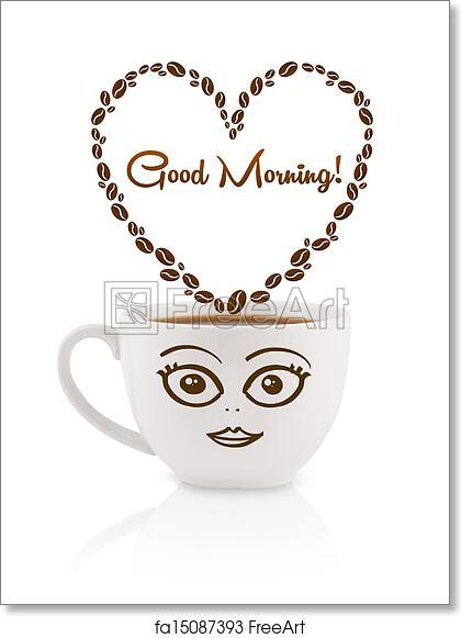 Free Art Print Of Coffee Mug With Coffee Beans Shaped Heart With
