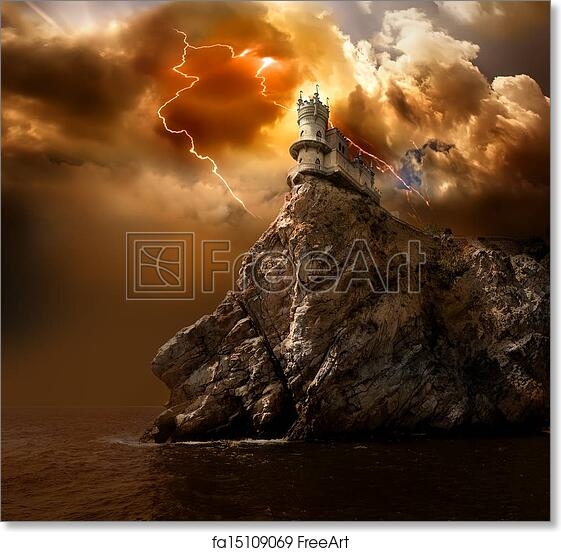 Photographic poster of Stonehenge at dawn lightning