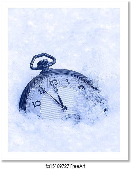 free art print of pocket watch in snow happy new year greeting card