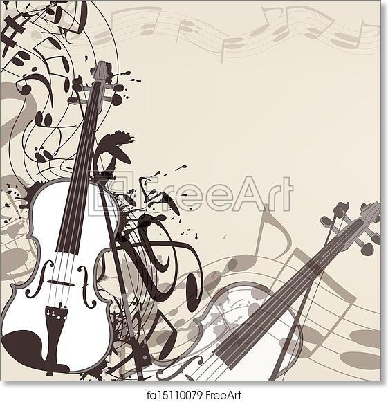 Free art print of Music vector background with violin and notes