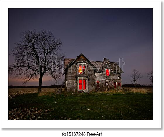 Free Art Print Of Haunted House. Light Painting On An