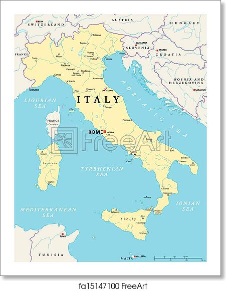 Map Of Italy English.Free Art Print Of Italy Political Map