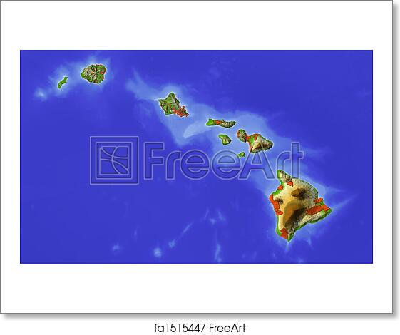 Free art print of Hawaii, shaded relief map