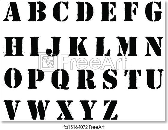 Free art print of Stencil alphabet letters sprayed in black grafitti style